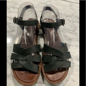 Toms Leather Buckle Sandals Black